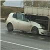 Под Красноярском Toyota заехала под грузовик, есть пострадавшие