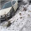 Вцентре Красноярска иномарка после ДТП сбила пешехода (видео)