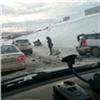 В Красноярске столкнулись четыре автомобиля, один перевернулся