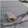 «Народный штраф»: ВКрасноярске машину исписали угрозами запарковку уподъезда