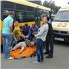 ВЖелезногорске автобус тащил засобой выпавшую издвери пожилую пассажирку