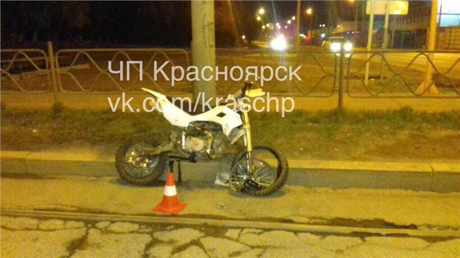 ВКрасноярске в трагедию попал несовершеннолетний нетрезвый мотоциклист без прав