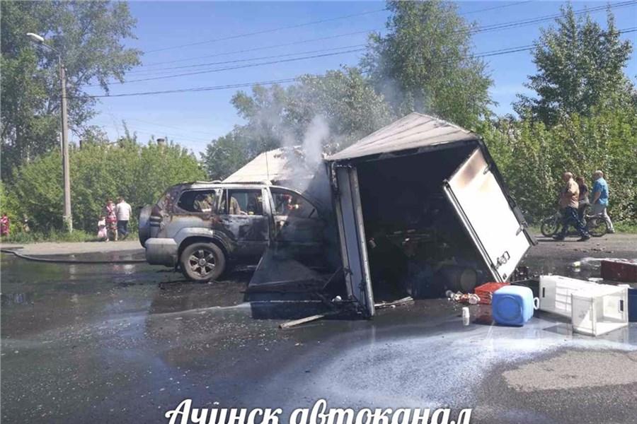 ВАчинске врезультате дорожного происшествия взорвалась ГАЗель смолоком