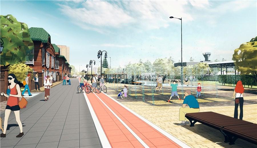 Представлен эскиз первой пешеходной улицы вцентре cфонтанами ивелодорожками